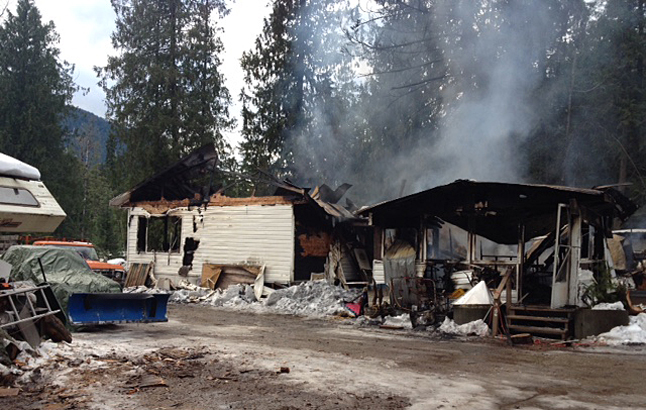 Not much remained of the fire after daybreak. Photo courtesy of Revelstoke Fire Rescue