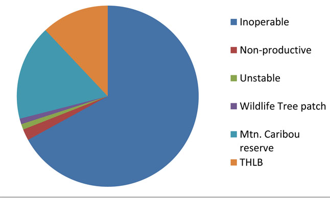 The following graph shows the amount of THLB in Landscape Unit R14 – Liberty which is located on the west side of Lake Revelstoke across from the Downie Loop. Graph courtesy of Stella Jones