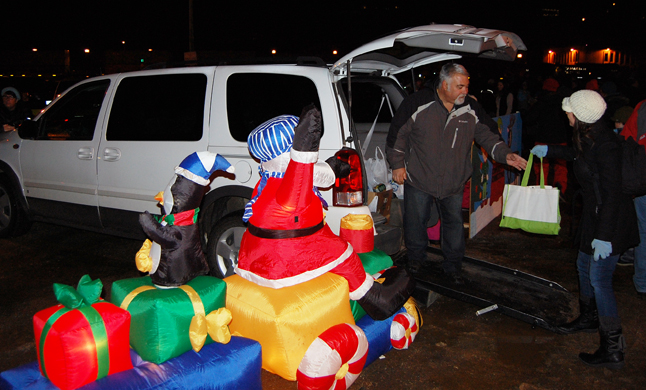 Lost of the people who came down to see the Holiday Train brought donations for the Food Bank. David F. Rooney photo