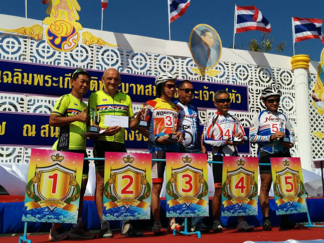 Revelstoke's Chris Bovard (far right) is spending this winter in Thailand where he continues to be a very active competitive cyclist. Here is on the podium in fifth place in the Nong Khai Road Race. Official Nong Khai Road race photo