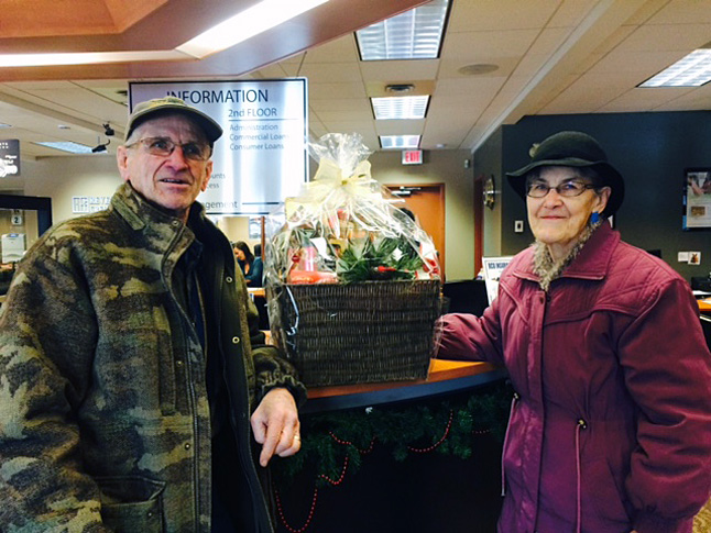 Jim and Norma Sharp were the winners of the Revelstoke Credit Union's coveted monthly gift basket in November.  Revelstoke Credit Union photo
