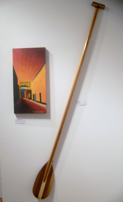 Tina Lindegaard Up My Alley Acrylic, ink  and  Ken Talbot SUP Paddle Western Red Cedar