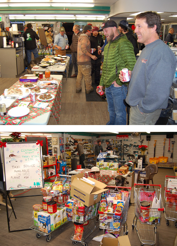 Thursday was Contractors' Night at RONA. Builders came down to the store in the Industrial Park to socialize, donate cash, bid on a secret silent auction item. RONA's annual Christmas tree sale also netted plenty of things for the Community Connections' Food Bank and Christmas Hamper Program. David F. Rooney photo