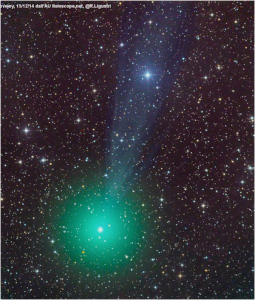 Originally the comet was supposed to reach naked-eye visibility in January or February 2015. It may be crossing that threshold now. Please click on the image to see a larger version. Ronaldo Ligustri photo courtesy of spaceweather.com