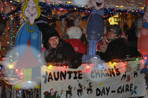 The passengers in the Auntie Charm's Day Care float were all smiles as they cruised along MacKenzie Avenue. David F. Rooney photo