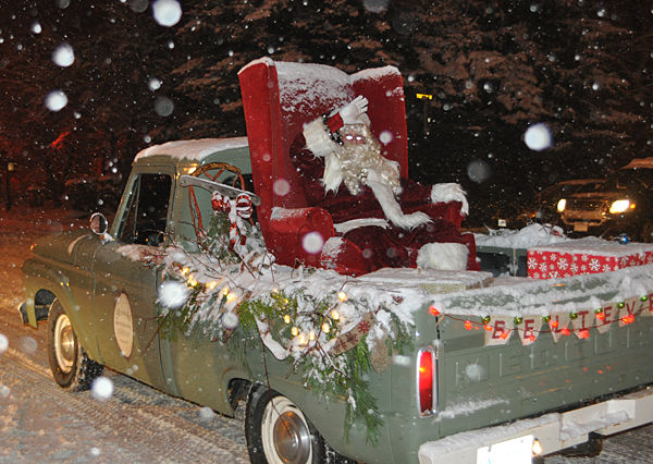 And here's the last float in the parade and... What do you know?... it's Good Old Saint Nick himself. Merry Christmas, Revelstoke! David F. Rooney photo