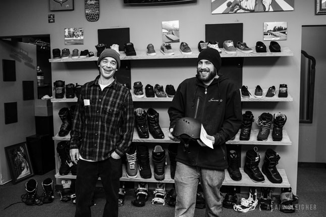 Al Clark and Seb Grondin were stoked when they checked out the gear available for RMR's first-ever Elevate Snow Camp. Al Sleigher photo