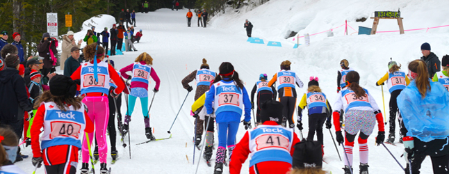 Mass start skate skiing races are a lot of fun to watch but nerve wracking to participate in. Zoya Lynch photo courtesy of Sarah Newton