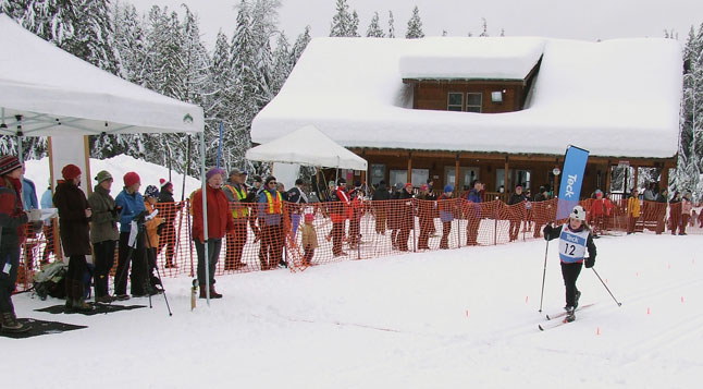 Natalia Morrone wooing the crowd as she finishes 3rd in the atom classic event. Revelstoke Nordic photo