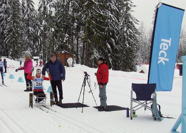 Emily Suchy, National Sit-Ski Champion, competing in Sunday's able bodied category. Revelstoke Nordic photo