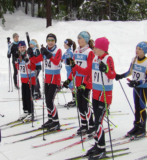 Friends and competitors, bantam girls, left to right, Loe Larson, Arianna Morrone, Emily MacCloud, and Jaclyn Elliott. Revelstoke Nordic photo