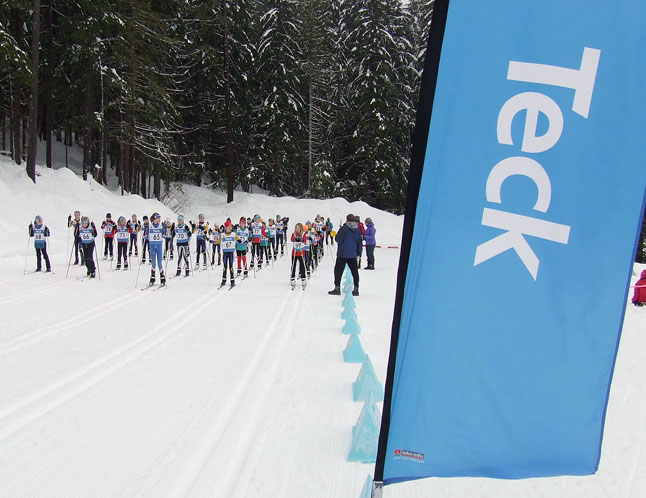 Not for the weak at heart, mass start of the bantam girls skate race on Sunday. Revelstoke Nordic photo