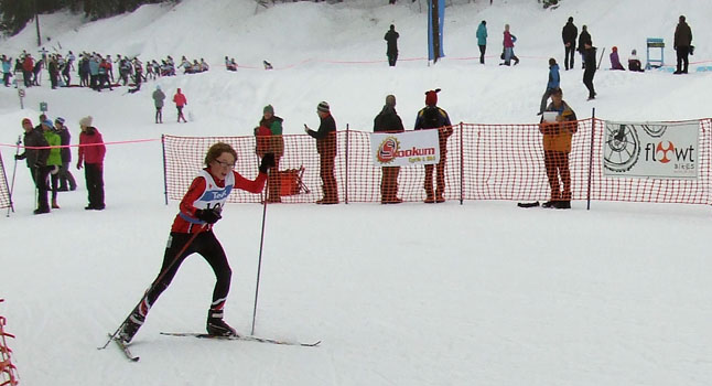 Erik Brosch hammering up to the finish of the skate skiing race. Revelstoke Nordic photo