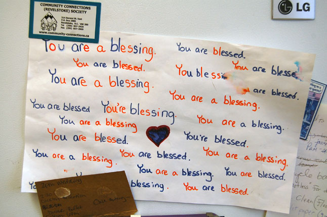 Blessed are the soup makers... These thoughts put on paper by a United Church Sunday School student says something about the dedication of the men and women who volunteer to make the Soup and a Smile program happen every Monday between 11:30 am and 1 pm. David F. Rooney photo