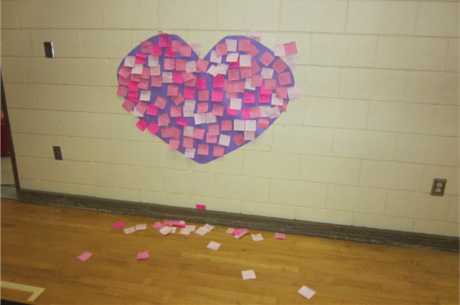This is the Arrow Height's complimentary heart on the wall at the gym, on  February 25. Photo and caption by Emily MacLeod and Amelie Delesalle