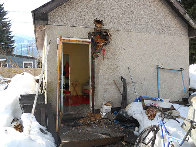 A Revelstoke resident scrambled to save his humble home with a spray bottle and a pot of water as he waited for Revelstoke Fire Rescue Service to respond to a 911 call late Saturday morning, February 14. Photo courtesy of the Revelestoke Fire Rescue Service