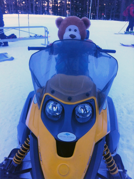 Dewey even tried out a snowmobile! Photo courtesy of Eleanor Wilson
