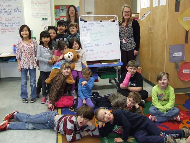 Dewey poses with the Grade 1/2 kids. Photo courtesy of Eleanor Wilson