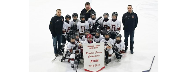 The Revelstoke Minor Hockey Atoms won the Super League Banner on Sunday finishing top of the League out of 11 teams with 15 wins, one loss and two ties. Way to go, kids. Photo courtesy of Alexandra Farrugia
