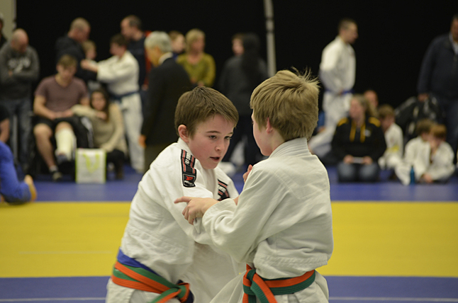 Caine McCabe attempting to get the inside grip on his opponent. Photo courtesy of the Revelstoke Judo Club