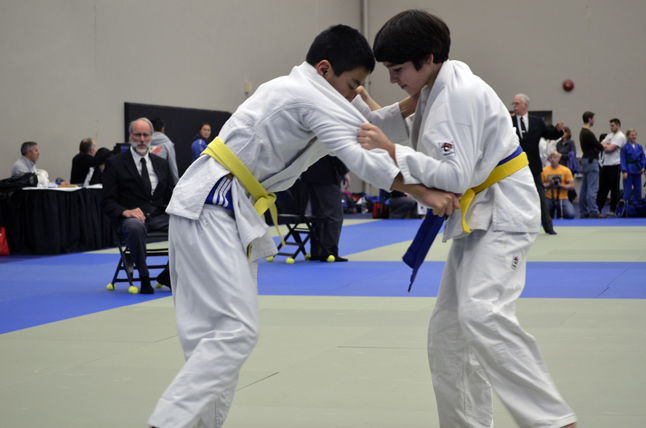 Jordan Snider (right) in his Gold medal match. Photo courtesy of the Revelstoke Judo Club