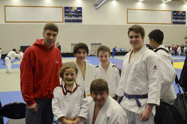 Here are the Revelstoke Judo Club's team members. Front row, left to right - Ruby Serrouya and Assistant Coach Ted Allain. Back row - Sensei Cornelius Suchy, Jordan Snider, Cain McCabe and Liam McCabe. Photo courtesy of the Revelstoke Judo Club