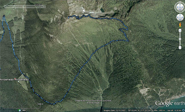 This Google Earth Map shows the trail, in blue, that the club proposes to rehabilitate. You can read the project description below. Google Earth map courtesy of  the Revelstoke ATV Club