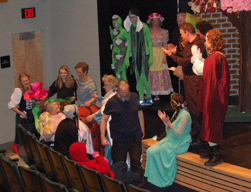 Acte Gill MacLachlan fell from the stage just seconds before the cast took a bow at the end of the rehearsal. You can see her sitting in a seat on the second from the left as other cast and crew members rushed to make sure she was not seriously injured. David F. Rooney photo