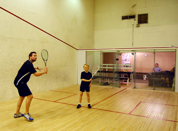 Revelstoke's most promising young squash players are getting a real workout this weekend as former English Junior Champion Adam TerHeeg is in town this weekend to whack a few balls with promising players players like Ryan Howe. The nine-year-old Ryan has only been playing squash for a couple of years and is already seeded as the No. 8 u-11 squash player in BC. David F. Rooney photo