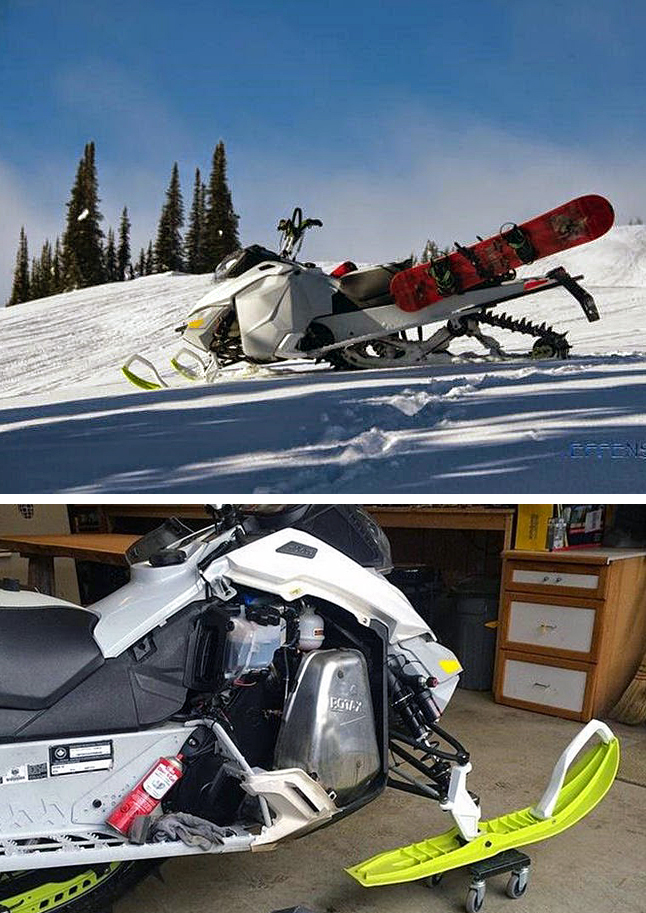 Have you seen this machine? On Friday, January 2, at approximately 2 am, someone cut the chain that was attached to a light grey 2013 Marathon Utility Open-Style Trailer (Vehicle Identification Number 2SSUB11A4DB061872) that contained a White 2014 800cc Freeride Ski-Doo with green skis and green handlebars (Vehicle Identification Number 2BPSVCEA3EV000446). The Ski-Doo and trailer were parked at a residence in the 400 block of Fourth Street West in Revelstoke. It is believed that someone used a pickup truck to hook onto the trailer and flee the area by heading westbound on 4th Street. If you have any information about this theft or any other criminal act, please do not hesitate to contact the Revelstoke RCMP at 250.837-5255 or Crime Stoppers at 1-800-222-8477 or visit their website at www.revelstokecrimestoppers.ca. Photo courtesy of Revelstoke Crime Stoppers