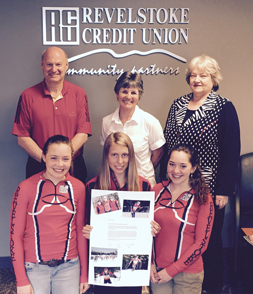 Nordic Ski Club members Alana Brittin, Elizabeth Elliot and Tayla Koerber posed recently with Revelstoke Credit Union directors Alan Chell, Pam Doyle and Adelheid Bender when they dropped by the financial institution with a lovely card thanking the RCU for its financial support towards their trip to the Ski Nationals in Thunder Bay at the end of March. Photo courtesy of Penny-Page Brittin