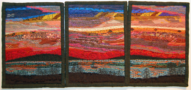 At Day's End — A triptych h By Janet Armstrong Textiles