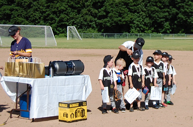 These young kids in Revelstoke Minor Ball's Beginner Black Team represent the future of softball in our town. Guided by Coaches Chris McKinnon and Matt McCaw they had a great season and received medals and certificates at the season wind up at Centennial Park on Monday, June 22. David F. Rooney photo