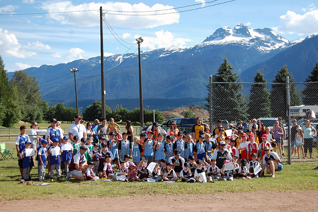 Here's a group shot of all the kids in this year's crop of Revelstoke Minor Ball teams. This is the best turnout the organization has had in years. David F. Rooney photo
