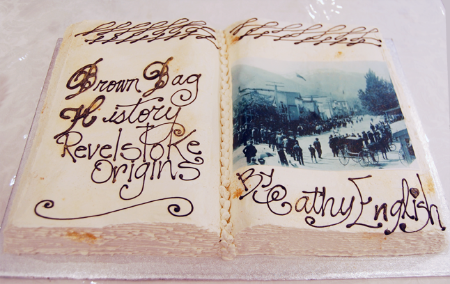 Here's the cake that was produced by The Modern for the book launch. And, yes, that is an actual historical photo. It was printed on sugar paper and incorporated into the icing on the chocolate cake. David F. Rooney photo