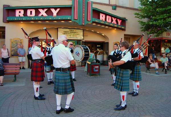 Pipers and drummers of the Revelstoke Highland Pipe Band serenaded the crowd at Grizzly Plaza during the kickoff for the 2015 Street Fest organized by the Revelstoke Arts Council. David F. Rooney photo