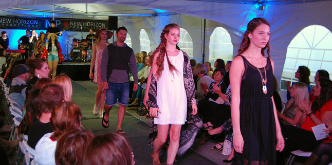 Models parade down the cat walk. From front to back are: Kristina Finamore, Jennifer Gullins, Jordan Howe, Willow Shewchuk, Kali Wells and Jessica Henke. David F. Rooney photo Loc