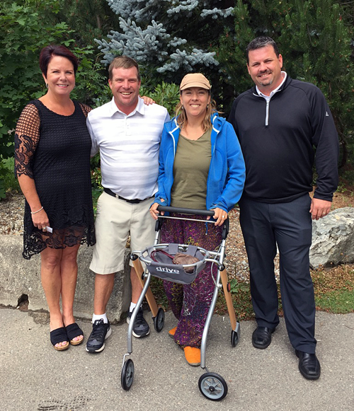 Wendy Toyer, executive director of the ALS Society of BC (left) and Taylor Pearcey, Revelstoke Golf Club's assistant professional, pose with Revelstoke's Pauline Hunt and Dean Jackson, the club's head golf pro, during a photo opportunity at the club on Thursday morning. Percy and Jackson participated in the annual golfathon for the ALS society. Amyotrophic Lateral Sclerosis is a debilitating and terminal illness that Pauline struggles with on a daily basis. The ALS Society of BC is dedicated to providing direct support to ALS patients like her, along with their families and caregivers, to ensure the best quality of life possible while living with ALS. The two golfers raised just over $2,000. Photo courtesy of Dean Jackson