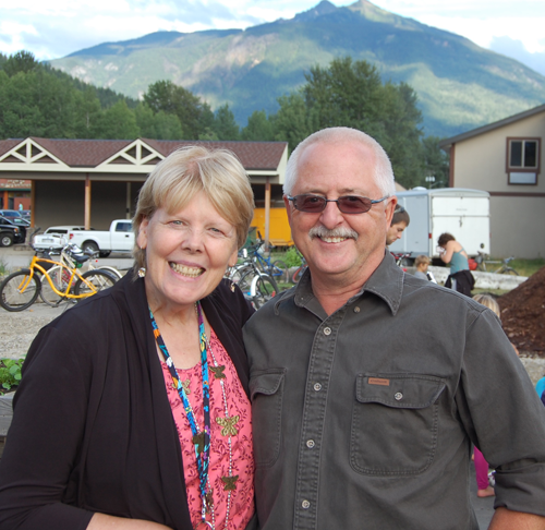 The Visual Arts Centre's Jackie Pendergast and Ken Talbot were all smiles. And why not? The Centre's collaboration with the North Columbia Environmental Society and the newly founded Local Food Initiative Society has been a smashing success. David F. Rooney photo