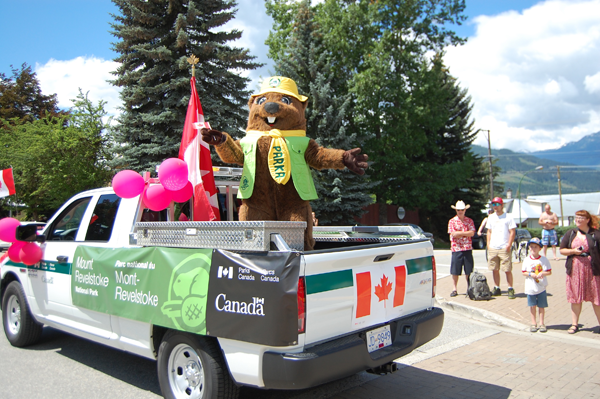 Parks Canada brought out their mascot for the parade, I wonder how he or she fared inside that suit? David F. Rooney photo