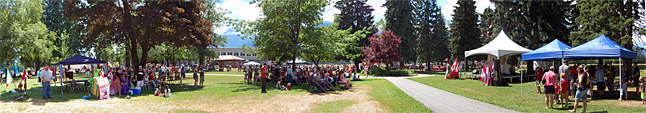 As usual, the annual Canada Day Birthday Party at Queen Elizabeth Park was a happy, albeit very hot, event. Everyone gravitated towards the shade cast by the park's beautiful trees. David F. Rooney photo
