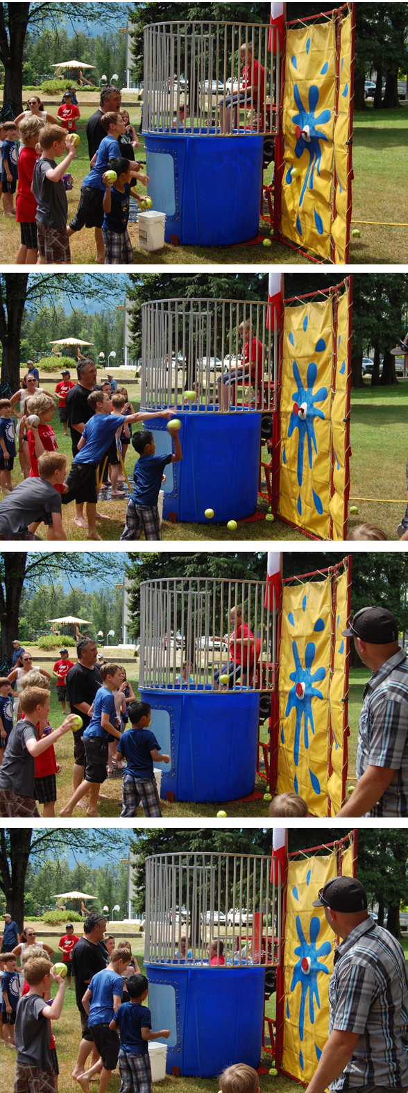 The older kids, meanwhile gravitated towards the dunk tank and an opportunity to try and dump someone into the tank with just the right toss of ball. David F. Rooney photo