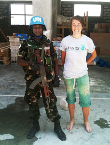All Hands volunteer Charise Folnovic poses with a UN peacekeeper in Haiti. Photo courtesy of Charise Folnovic