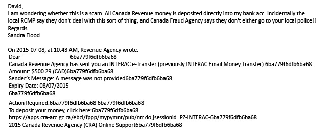 Here's a cautionary tale from the bowels of the Internet: A gang of crooks is sending out e-mails claiming to represent the Canada Revenue Agency and asking you to click on a link letting you accept a $500 tax refund. Local artist Sandra Flood received one of the e-mail earlier this week and was immediately suspicious. Revelstoke Current Photoshop illustration