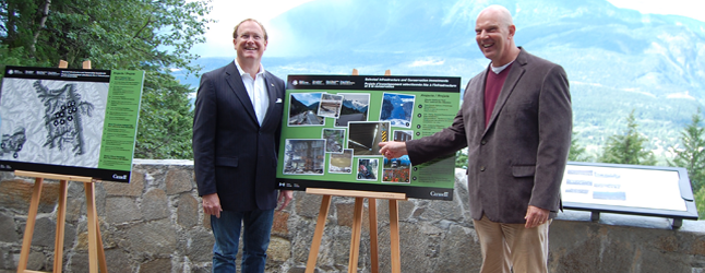 The federal government is going to spend $156 million to improve infrastructure in Mount Revelstoke and Glacier National Parks, including their sections of the Trans-Canada Highway. MP David Wilks, shown here with his colleague Dr. Colin Carrie who is the parliamentary secretary to Environment Minister Leona Aglukkaq, was particularly pleased that LED lights will — finally — be installed in all of the snow sheds on the Trans-Canada. David F. Rooney photo