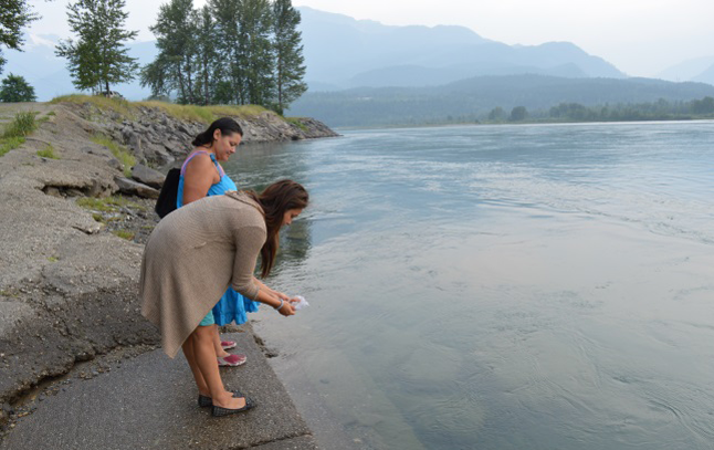 Isabel Okanese (back) was joined by Marlene Manson for part of her walk. Manson is a member of the new Aboriginal Friendship Committee of Revelstoke. Laura Stovel photo