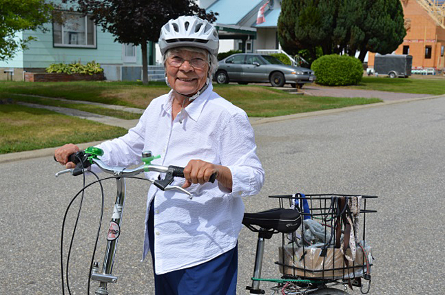 Seeing Inge Anhorn cycle around town with her distinctive folding bike is a familiar sight in Revelstoke. Laura Stovel photo