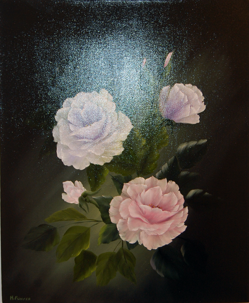 Roses on Black Canvas By Heather Funfer Oils on Canvas
