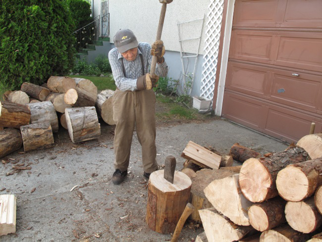 My neighbour, 96-year-old John Augustyn, still splits his wood and piles it neatly for the winter. Laura Stovel photo