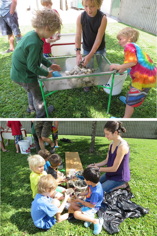 """Structural engineer Vanessa Morrow visited with the public library's summer reading club last week and taught the kids about dam building.  """"The kids started off with a slide show of four different types of dam structures; of which the Mica and Revelstoke dams were examples,"""" said Community Librarian Kendra Runnalls. """"In small groups the kids went off to actually build small-scale replicas of the dams using clay, rocks, Lego, and even sticks and dirt for a beaver dam.  Each child had a chance to work together in a small group to construct each of the four types of dams that they learned about. The dams were tested using water and for the most part succeeded! Kendra Runnalls photos"""